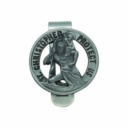 1-3/8 x 1-3/8 Inch Round Pewter and Pierced St. Christopher Visor Clip