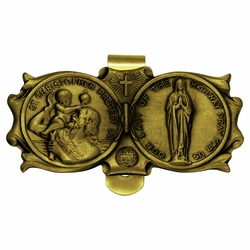 1-3/8 x 3 Inch Gold Pewter St. Christopher and Miraculous Mary Visor Clip