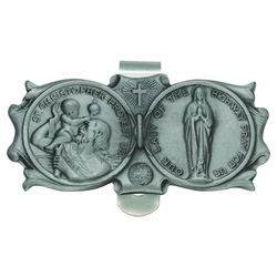 1-3/8 x 3 Inch Pewter St. Christopher and Miraculous Mary Visor Clip