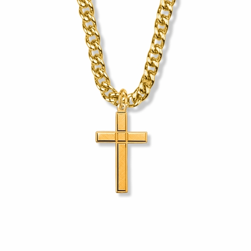 1-5/16 Inch 14K Gold Filled Engraved Detail Cross Necklace
