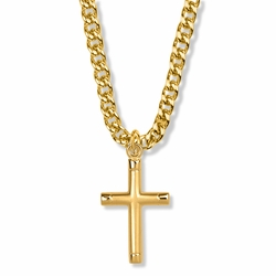 1-5/16 Inch 14K Gold Over Sterling Silver Bright Ends with Oxidized Center Cross Necklace