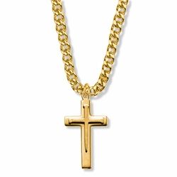 1-5/16 Inch 14K Gold Over Sterling Silver Overlaid  Nail Cross Necklace