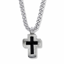 1-5/16 Inch Antique Black Enamel Cross Necklace
