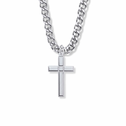 1-5/16 Inch Sterling Silver Engraved Detail Cross Necklace
