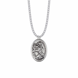 1-5/16 Inch Sterling Silver Oval St. Christopher Medal