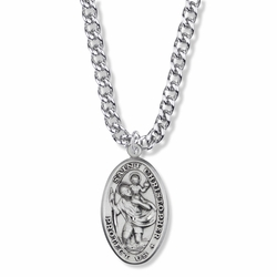 1-5/16 Inch Sterling Silver Oval St. Christopher Medal, Patron Saint of Travelers