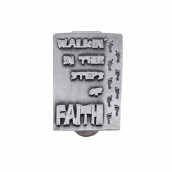 1-5/8 Inch Pewter Footprints in the Sand Faith Visor Clip