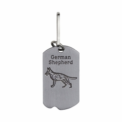 1-5/8 Inch Pewter German Shepard and St. Francis Dog Tag