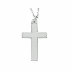 1-5/8 Inch Pewter Our Father Prayer Cross Necklace