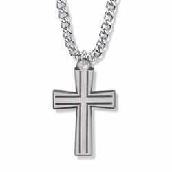 1-5/8 Inch Pewter Outlined and Flared Cross Necklace