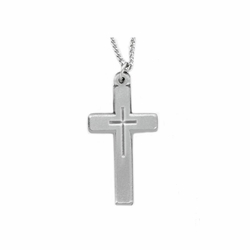 1-5/8 Inch Pewter Pierced Cross Necklace