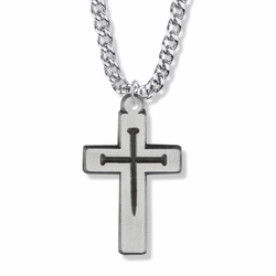 1-5/8 Inch Pewter Pierced Nail Cross Necklace