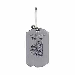 1-5/8 Inch Pewter Yorkshire Terrier and St. Francis Dog Tag