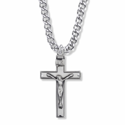 1-5/8 Inch Sterling Silver Beaded Antique Crucifix Necklace
