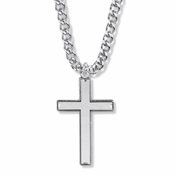 1-5/8 Inch Sterling Silver Beaded with Our Father Prayer on Back Cross Necklace