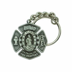1-5/8 x 1-1/2 Inch Pewter St. Florian, Patron of Fire Fighters Maltese Cross Key Chain