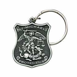1-/58 x 1-1/8 Inch Pewter St. Michael, Patron Saint of Police Shield Key Chain