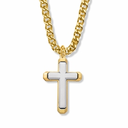 1-7/16 Inch Two-Tone 14K Gold Over Sterling Silver Beveled Cross Necklace