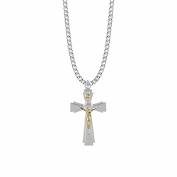 1-7/16 Inch Two-Tone Sterling Silver Flared Crucifix Necklace