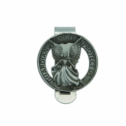 1-7/16 x 1-1/2 Inch Pewter Round Guardian Angel Protect Us Visor Clip