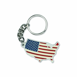 1-7/8 Inch Enameled Finish American Flag USA Shaped Key Chain