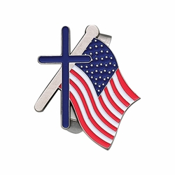 1-7/8 Inch Pewter American Flag with Cross Visor Clip