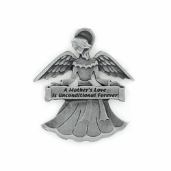 "1-7/8 Inch Pewter Angel with ""A Mother's Love is Unconditional Forever"" Visor Clip"