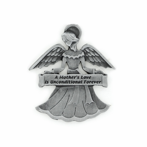 """1-7/8 Inch Pewter Angel with """"A Mother's Love is Unconditional Forever"""" Visor Clip"""