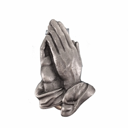 1-7/8 Inch Pewter Serenity Praying Hands Auto Visor Clip