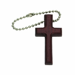 1-7/8 x 1-1/8 Inch Wood Cross Key Chain