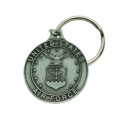 1-7/8 x 1-5/8 Inch Pewter Round St. Michael Air Force Key Chain