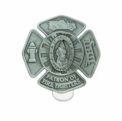 1-7/8 x 1-7/8 Inch Pewter St. Florian, Patron of Fire Fighters Maltese Cross Visor Clip