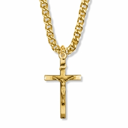 1-9/16 Inch 14K Gold Over Sterling Silver Brushed Crucifix Necklace