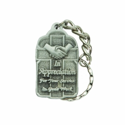 1-9/16 x 15/16 Inch Pewter Appreciation of Gods Work Key Chain
