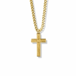 1 Inch 14K Gold Filled Diamond Engraved Cross Necklace