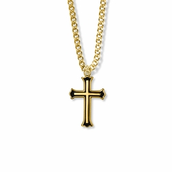 1 Inch 14K Gold Over Sterling Silver and Enameled Budded Ends Cross Necklace