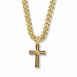 1 Inch 14K Gold Over Sterling Silver Antiqued Lined Cross Necklace