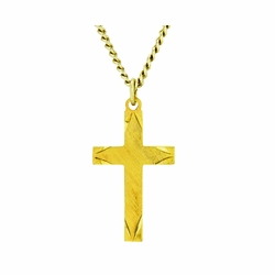 1 Inch 14K Gold Over Sterling Silver Engraved Ends Cross Necklace on 18 Inch Chain
