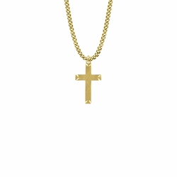 1 Inch 14KT Gold Plated Over Sterling Silver Engraved Ends Cross Necklace on 18 inch stainless steel gold plated chain