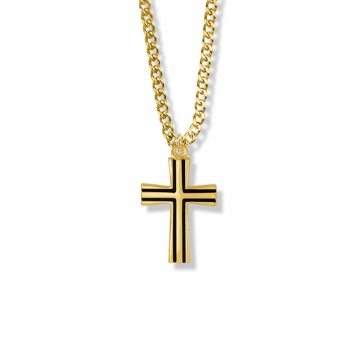 1 Inch 14K Gold Over Sterling Silver Flared Cross with Black Enamel Detailing Necklace