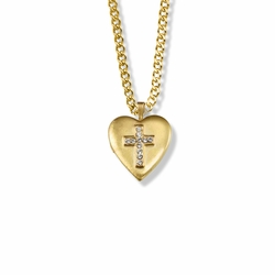 1 Inch 14K Gold Over Sterling Silver Heart Locket Necklace with Cubic Zirconia Stone Cross