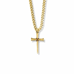 1 Inch 14K Gold Over Sterling Silver Nail with Copper Center and Diamond Engraved Ends Cross Necklace