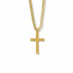 1 Inch 14K Gold Over Sterling Silver Woven Cross Necklace