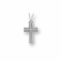 1 Inch Pewter Flared and Outlined Cross Necklace