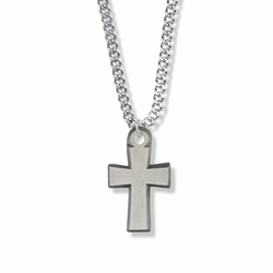 1 Inch Pewter Flared Cross Necklace