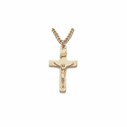 1 Inch Pewter Gold Plated Boy First Communion Crucifix Necklace