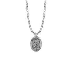 1 Inch Pewter Oval Saint Gerard Medal, Patron Saint of Expectant Mothers