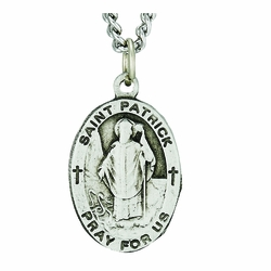 1 Inch Pewter Oval Saint Patrick Medal, Patron Saint of Ireland