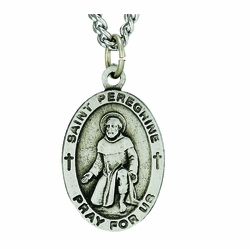 1 Inch Pewter Oval Saint Peregrine Medal, Patron Saint of Cancer