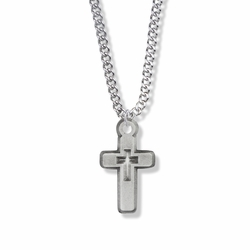 1 Inch Pewter Pierced Cross Necklace